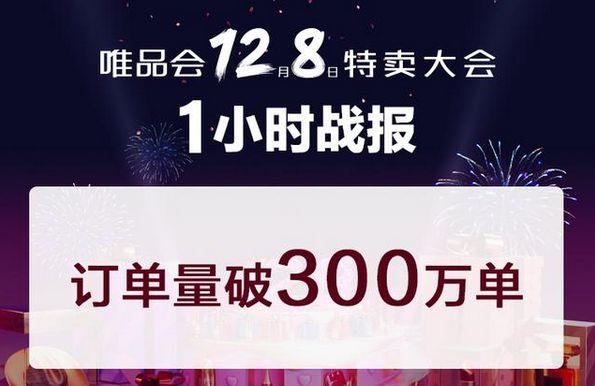 """唯品会""""12.8特卖大会""""1小时订单量破300万单_零售_电商报"""