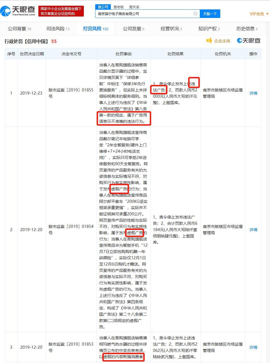 猫宁电商本月新增5条行政处罚 系苏宁和阿里的合资公司_零售_电商报