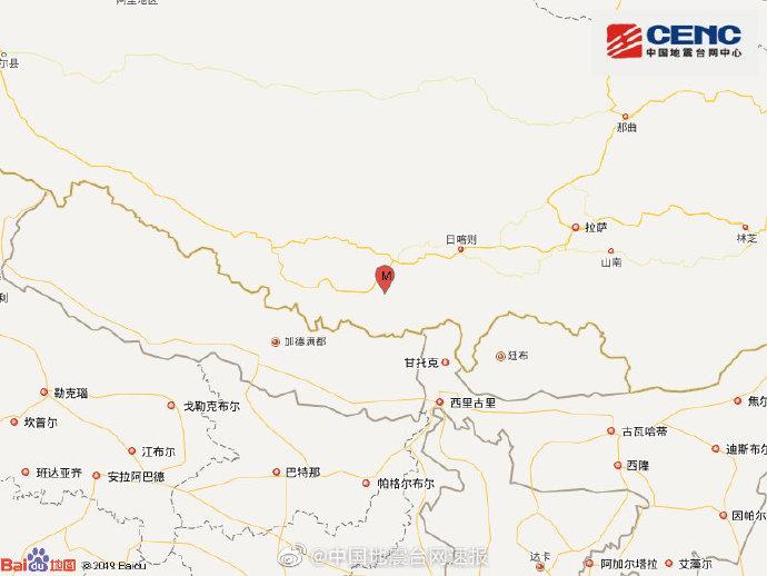 西藏日喀则市定日县发生5.9级地震 震源深度10千米