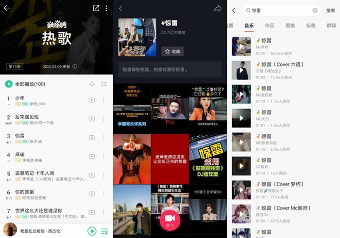 《惊雷》在音乐平台和短视频平台火爆。