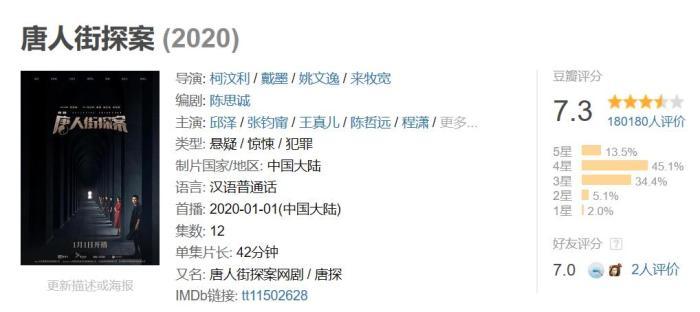 《唐人街探案》网剧只有12集。来源:豆瓣网页截图。