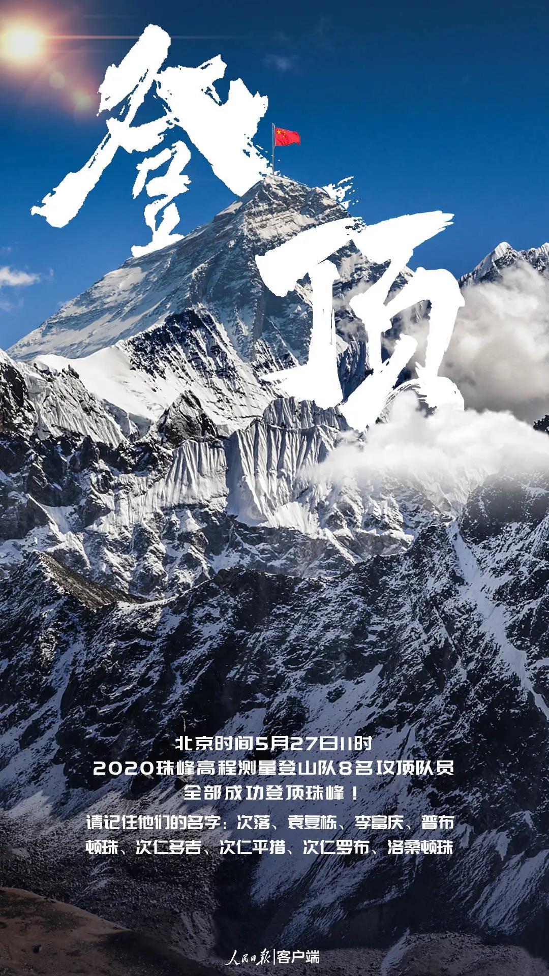 2020珠峰高程测量登山队登顶成功