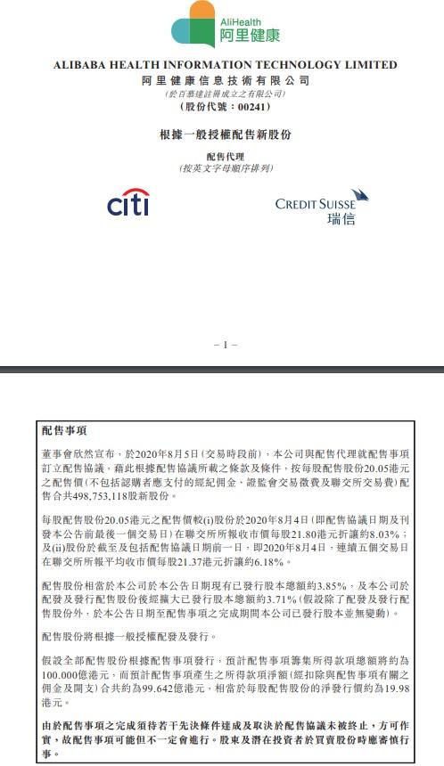 阿里健康:拟配售4.99亿股新股份 募资100亿港元_零售_电商报