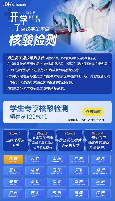 助力开学季 京东健康核酸检测服务推出学生专属优惠
