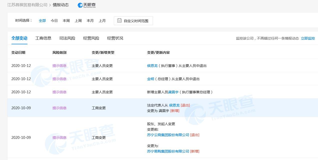 苏宁易购斥资1500万入股江苏昌祺贸易有限公司_零售_电商报