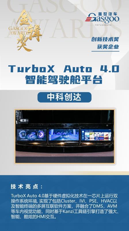 中科创达TurboX Auto 4.0智能驾驶舱平台荣获金辑奖