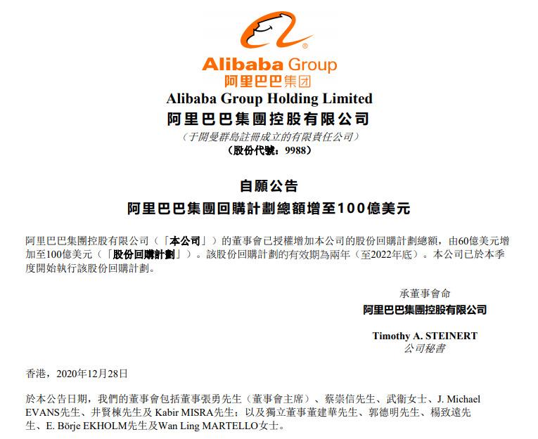 阿里巴巴:股份回购计划总额由60亿美元增加至100亿美元_零售_电商报