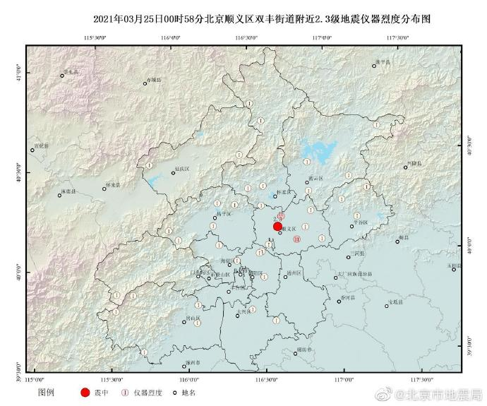 北京顺义凌晨发生2.3级地震,北京市地震局:为正常地震活动