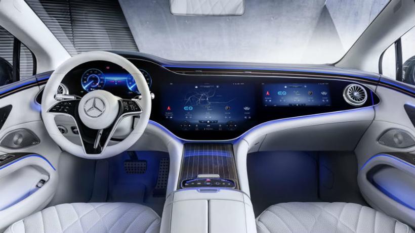 1.4米曲面中控大屏细节曝光,奔驰EQS将于4月15日全球首发