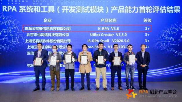 全球第一家 金智维RPA获得中国信通院3+级别官方认证