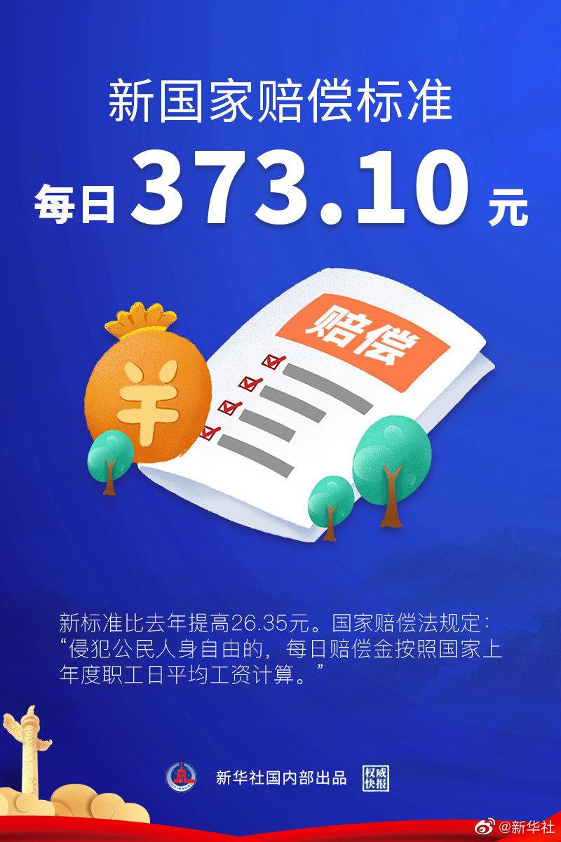两高:最新国家赔偿标准每日373.1元,比去年多26.35元