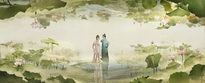 许仙与白素贞相遇(电影画面设计原稿)。珠江电影集团有限公司供图 珠江电影集团有限公司 供图
