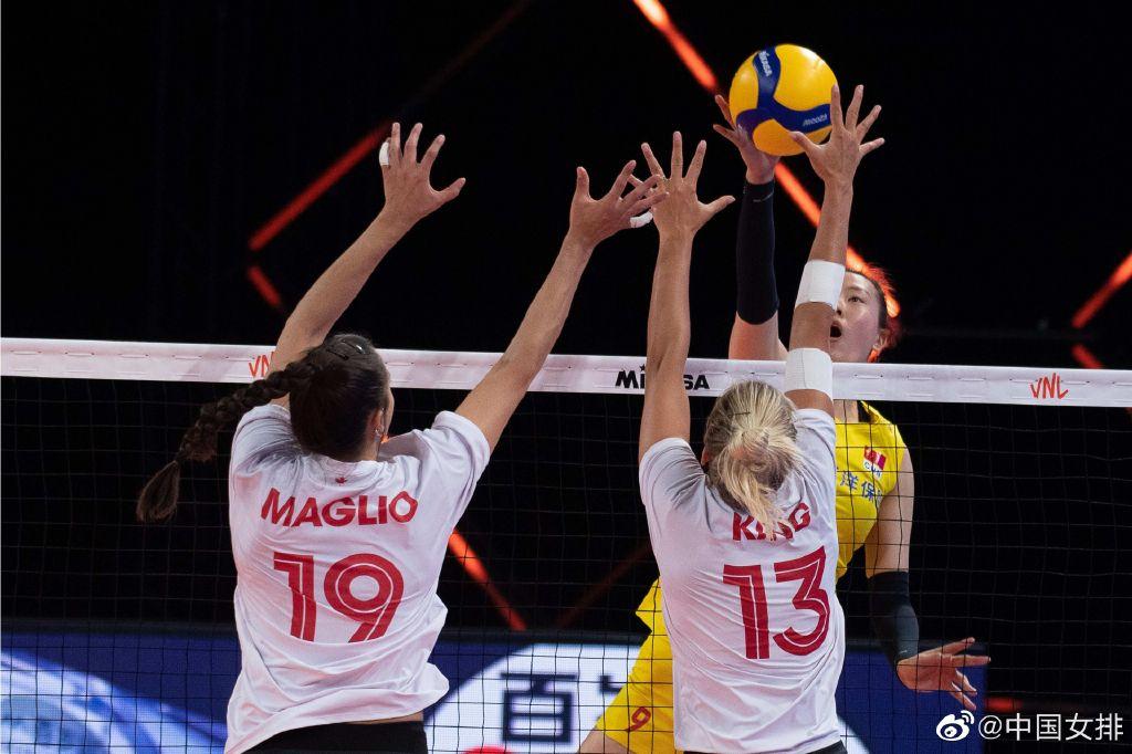 加拿大队在比赛中拦网。